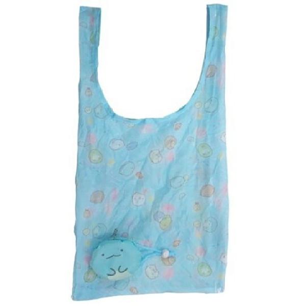 小禮堂 角落生物 恐龍 折疊尼龍環保購物袋 環保袋 側背袋 (藍 大臉) 4580433-08978