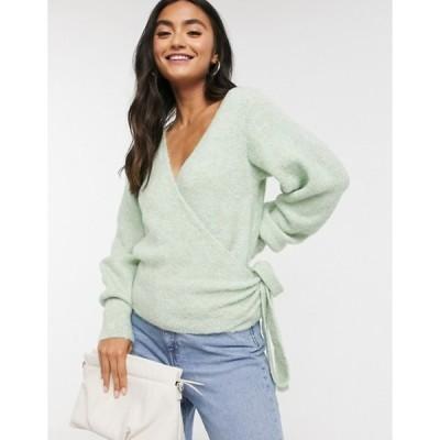 エイソス レディース ニット・セーター アウター ASOS DESIGN wrap fluffy sweater in pale green
