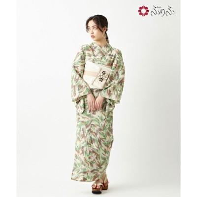 花園マーブル 浴衣 単品 ふりふオリジナル 日本製 ゆかた レディース 女性 マーブル柄 花柄 総柄 和柄 和風 レトロ モダン かわいい 可愛い 大人 お洒落 紺