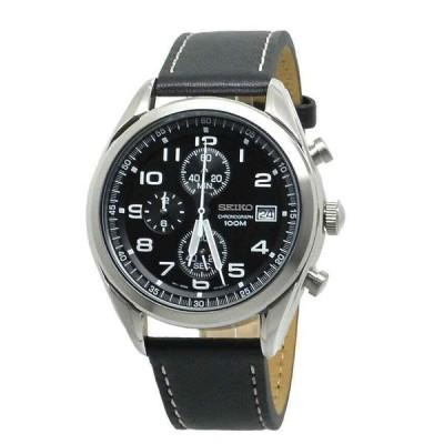 セイコー 腕時計 Seiko クォーツ クロノグラフ SSB271 Black Dial Black Leather Band メンズ Watch