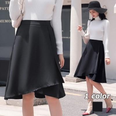 フレアスカート ハイウエストスカート ラップスカート スカート ミディアム ブラック S-XXL エレガント カジュアル