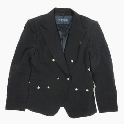 【中古】アペーナ APPENA  ダブル テーラードジャケット ブレザー サイズ40 ネイビー ◎12 レディース