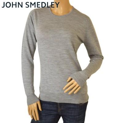 JOHN SMEDLEY ジョンスメドレー レディース クルーネック ニット GERANIUM ゼラニウム SLIM FIT メリノウール セーター ejd503 シルバー
