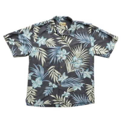 シルク 開襟 アロハシャツ ハワイアンシャツ スラブ生地 サイズ表記:L