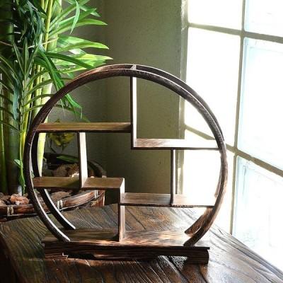 飾り棚 扇珍品棚 丸棚 / W30xD5.5xH29cm / 木製 ハンドメイド 卓上家具 アジアン インテリア ディスプレイラック 飾棚