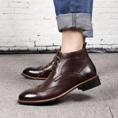 ビジネスシューズ PUレザー ショートブーツ メンズ ブーツ 革靴 紳士靴 マーチンブーツ 高級靴 レースアップ チャッカブーツ ショートブーツ