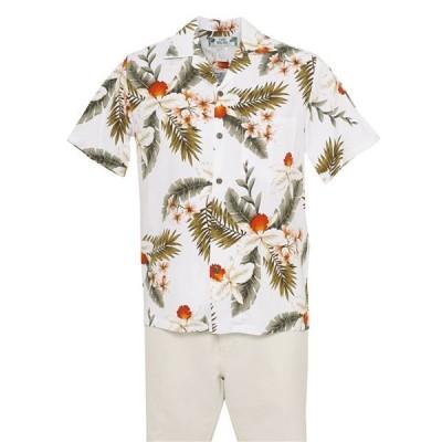 Two Palms メンズ アロハシャツ ハワイアンオーキッド/ホワイト/レーヨン ハワイ直輸入