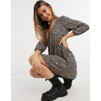 プルアンドベアー レディース ワンピース トップス Pull&Bear long sleeve mini dress in leopard print