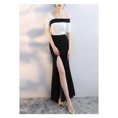 ロングワンピース ワンピ 韓国 コーデ きれいめ 40代 30代 20代 ロング丈 半袖 バイカラー 結婚式 およばれ 上品 パーティドレス 黒 白
