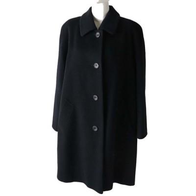 美品◎日本製 Aquascutum/アクアスキュータム レディース ウール100% ロングコート ブラック/黒 サイズ9 シンプル◎