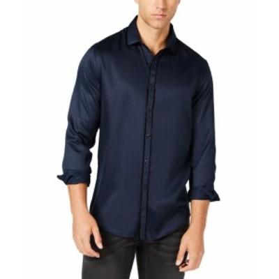 ファッション アウター INC NEW Blue Navy Mens Size Large L Piped Sateen Button Up Shirt