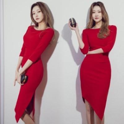赤 ワンピース 結婚式ドレス 二次会 お呼ばれ 韓国風 タイトワンピース スリット パーティードレス 無地 不規則 ワンピース 7分袖 ワンピ