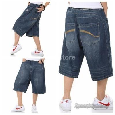 ハーフパンツ ショートパンツ メンズ 大きいサイズあり HIPHOP ファッション カジュアル ゆったり 欧米風 デニムパンツ Gパン 七分丈 プリント ストレット