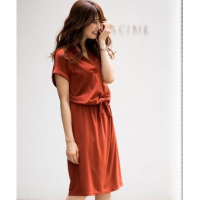 楽ちんカットソーウエストリボンブラウジングワンピース (ワンピース)Dress