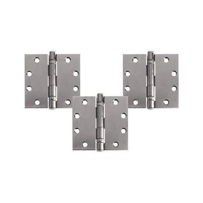 Nuk3y 商用グレード ボールベアリングドアヒンジ NRP 4-1/2 x 4-1/2 フルほぞ穴ブラシ 3個パック (ステンレススチール(304)