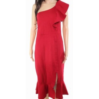 Red  ファッション ドレス Designer Brand Womens Dress Red XL Sheath Slit One-Shoulder Ruffled