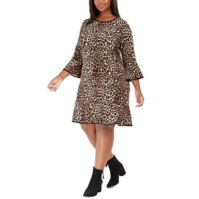 マイケルコース ワンピース トップス レディース Plus Size Animal-Print Shift Dress Dark Camel