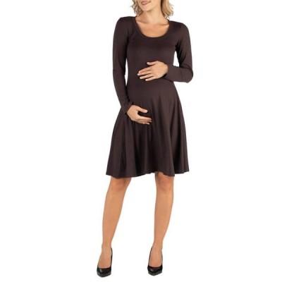 24セブンコンフォート レディース ワンピース トップス Maternity Long Sleeve Flared T-Shirt Dress
