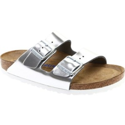 ビルケンシュトック レディース サンダル シューズ Arizona Soft Footbed Leather Sandal Metallic Silver Leather