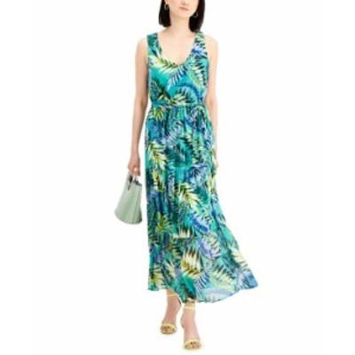 ナインウェスト レディース ワンピース トップス Chiffon Maxi Dress Fresh Green Multi