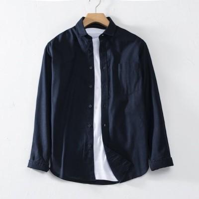 リネンシャツ メンズ 長袖 トップス 折り襟 カジュアルシャツ シャツ 胸ポケット ゆったり 無地 ビジネス 通勤 春 夏 メンズファッション 30代