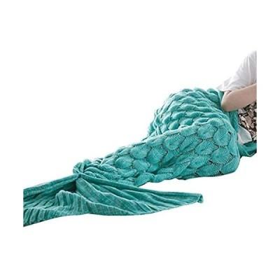 tanggo マーメイド ブランケット 大人 着る毛布 人魚 ニット ひざ掛け 可愛い 人魚毛布 コスチューム (グリーン One Size)