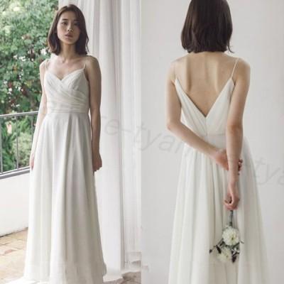シンプル ウエディングドレス ノースリーブ 白 二次会 結婚式ドレス 安い 花嫁 フォトウエディング ビーチフォト 前撮り 後撮り 披露宴 ロングドレス