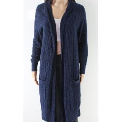 ファッション トップス Ceny NEW Blue Womens Size Small S Ribbed Knit Open Cardigan Sweater