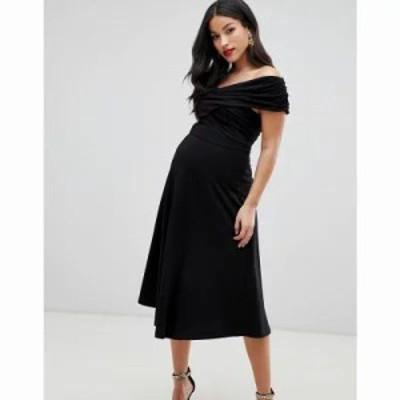 エイソス ワンピース ASOS DESIGN Maternity bardot midi skater dress Black