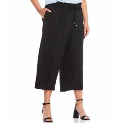 カルバンクライン レディース カジュアルパンツ ボトムス Plus Size Solid Hammered Textured Pull-On Drawstring Crop Pants Black