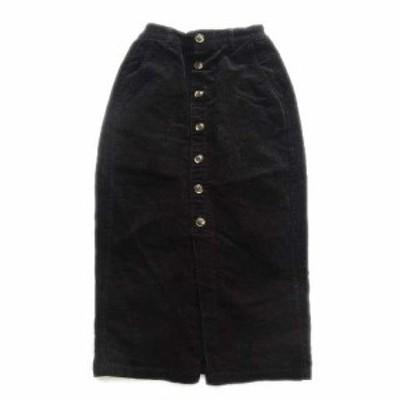 【中古】レトロガール RETRO GIRL コーデュロイ ロング スカート ウエストゴム 前開き M 黒 ブラック