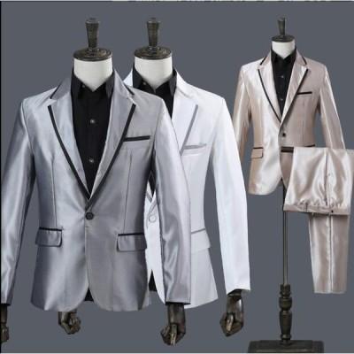 フォーマルスーツ ブラックスーツ メンズ 2点上下セットアップ ジャケット パンツ 結婚式 演出 司会者 テーラードジャケット 紳士 ビジネス 全店二点送料無料