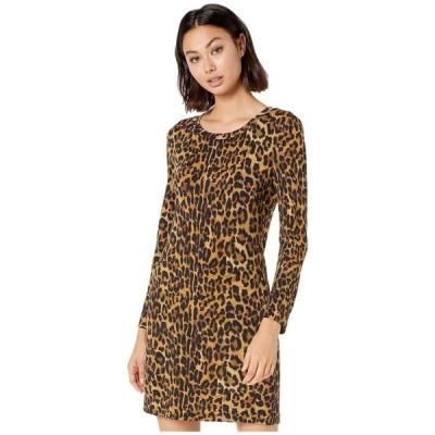 ニコルミラー レディース ワンピース トップス Furry Leopard Long Sleeve Dress