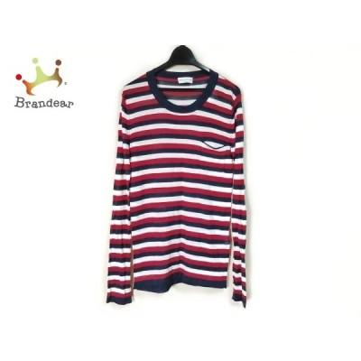 ソニアリキエル 長袖セーター サイズM レディース 美品 白×レッド×ダークネイビー ボーダー 新着 20200425