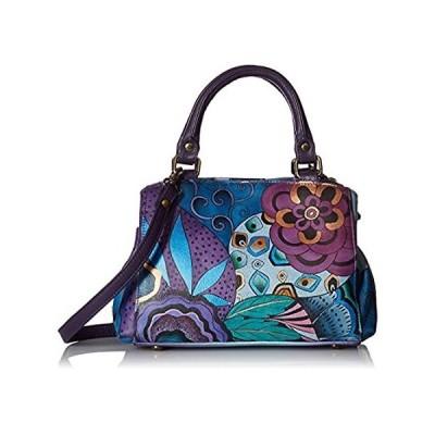 Anna by Anuschka Satchel Handbag | Genuine Leather | Tribal Potpourri Eggpl