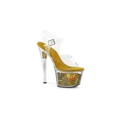 サンダルプラットフォーム 厚底 7インチ 約17.8cm 台 プリーザー pleaser  Ankle Strap Sandal カラー:Clr/Gold Multi Glitter お取り寄せ商品