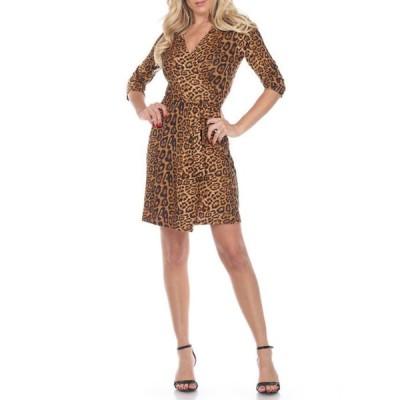 ホワイトマーク レディース ワンピース トップス Women's Animal Wrap Dress