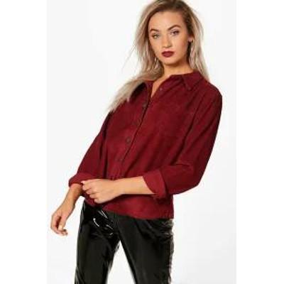 Boohoo レディーストップス Boohoo Oversized Cord Shirt burgundy