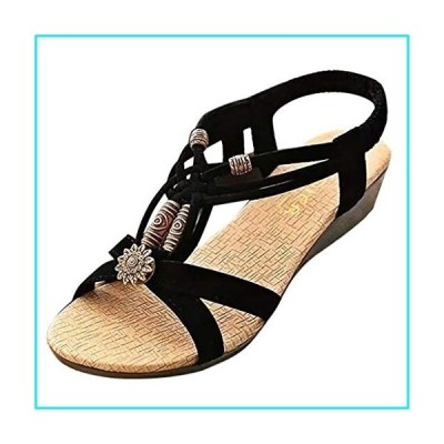 Summer Flat Gladiator Sandals for Women Comfortable Casual Beach Shoes Bohemian Beaded Flip Flops Sandals【並行輸入品】