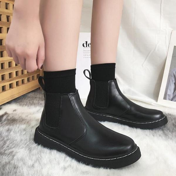 新款春秋季英倫風單靴網紅平底帥氣小短靴百搭切爾西馬丁靴女