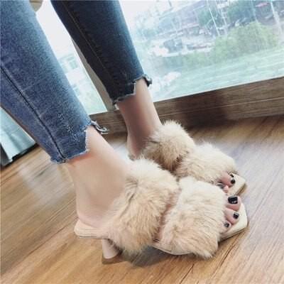 ファー ミュール 韓国 オルチャン かわいい ふわふわ ピン ヒール 原宿系 ストリート サンダル コンサバ きれいめ デート 靴 シューズ SHO-365