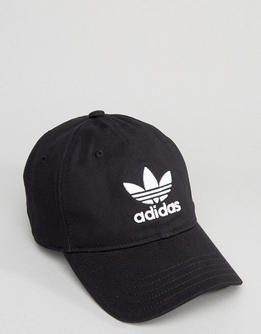 美國百分百【全新真品】Adidas 愛迪達 三葉草 配件 帽子 棒球帽 遮陽帽 運動戶外 電繡 logo 黑色 深藍  I194