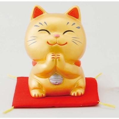 幸せお願い猫 中 金(貯金箱)