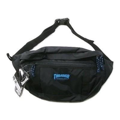 THRASHER スラッシャー THR-139 COLOR MAG LOGO カラーマグロゴ刺繍 大 ウエストバッグ L ボディーバッグ 黒x青 ブラックxブルー