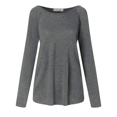 Dorimis Womens Tops Long Sleeve Round Neck T-Shirt Casual Ladies Blous