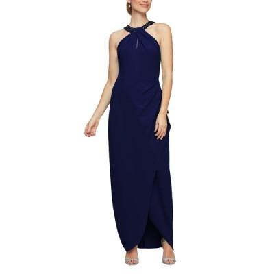 アレックスイブニングス ワンピース トップス レディース Embellished Halter Evening Gown Navy