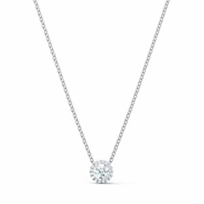 SWAROVSKI Angelic Pendant with Circular Clear Crystal and Clear Crystal Pav? on a Rhodium Plated Chain