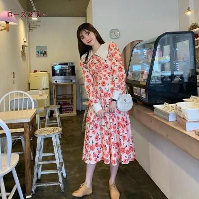 ローズマリー  韓国ファッション 🌸 売れ筋の商品 バラプリントのワンピース  スイート 花柄  長袖ワンピース  ロングワンピース   大人気  202003011