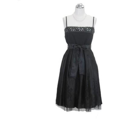 サテン刺繍ドレス ブラック 9号 パーティードレス フォーマルドレス P35