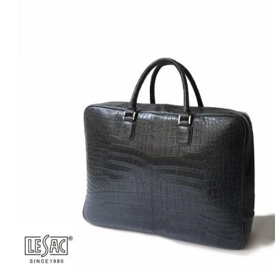 ブリーフケース メンズ レディース ブランド ビジネス LeSac レザック 本革 クロコダイル  チャコールグレー